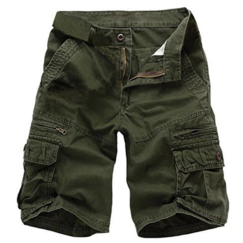 Musen Men Cotton Relaxed Fit Multi Pocket Outdoor Casual Cargo Shorts Army Green 38