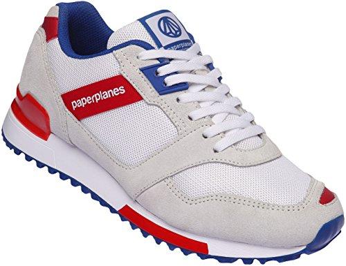 Paperplanes - 1329 Mesh Sneaker Kreuz Unisex Turnschuhe, Rot - White Blue Red - Größe: 42