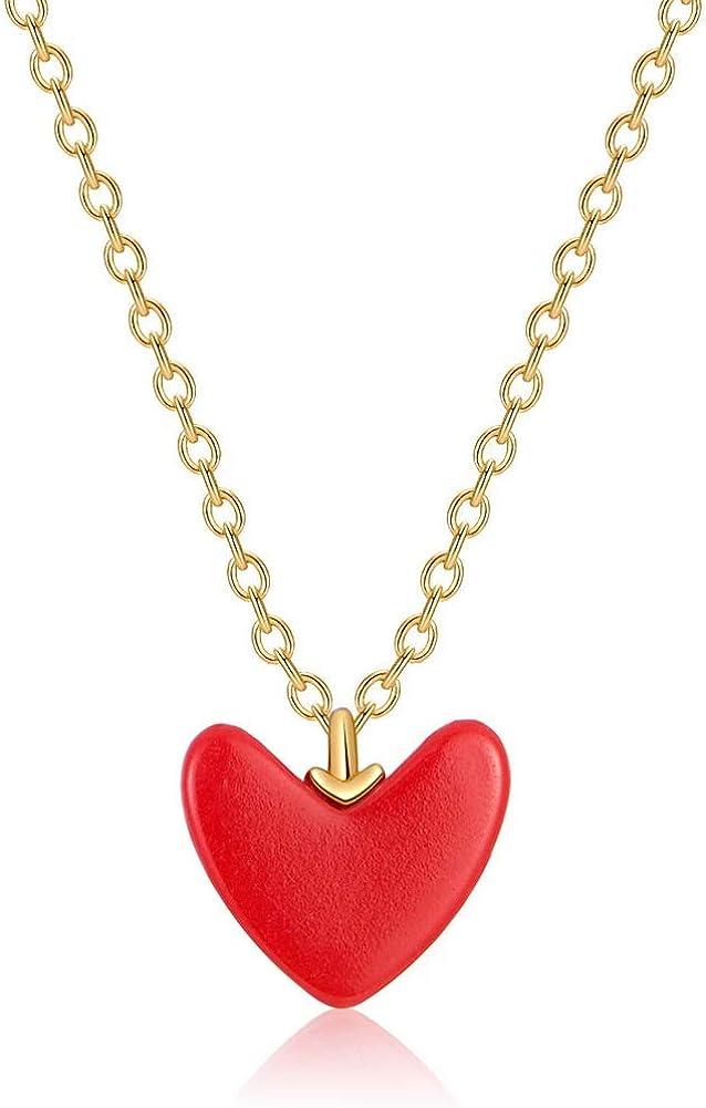 YAZILIND Mujeres 925 Plata esterlina Simple Longitud Ajustable Cadena pequeño corazón Rojo Colgante suéter Collar joyería para Las Mujeres Regalo