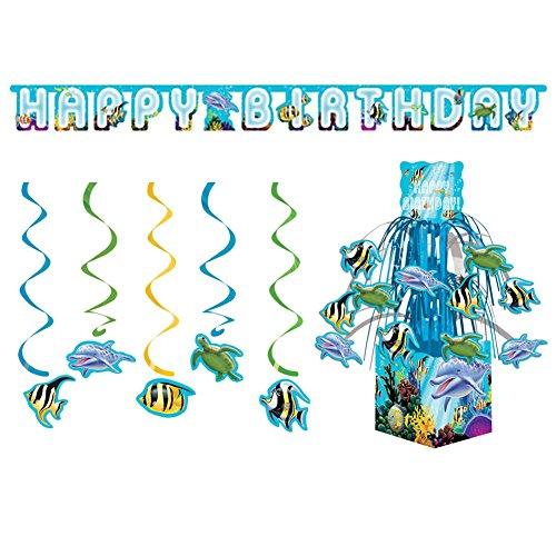 Ocean Party Decoration Pack: Jointed Banner, Hanging Swirls, and Centerpiece