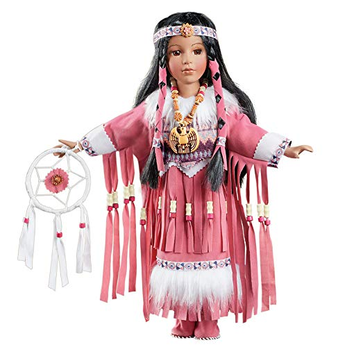 Collections Etc Women's Elu Native American Porcelain Doll Tabletop Display, Pink Outfit Includes White Faux Fur and Beads