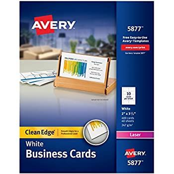 Amazon.com : Avery White Clean Edge Two Sided Laser Business Cards ...
