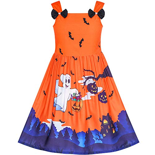 Girls Dress Halloween Ghost Bats Witch Pumpkin Party Costume Size 6