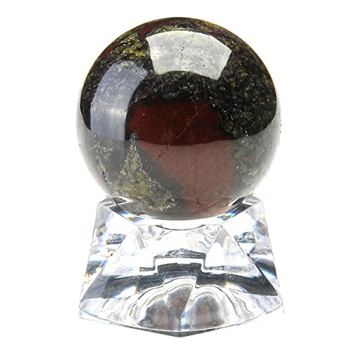 QGEM Natural Dragon Blood Jasper 30mm Crystal Energy Sphere on Acrylic Stand Reiki Balancing Decor Gift