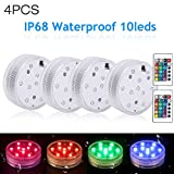 4pcs Waterproof Submersible LED Lights with Remote Control,Decoration Lights for Vase Base,Floral,Aquarium,Garden,Wedding,Party,Christmas Decorations Multi Color Changing Watertight LED Lights