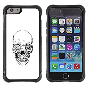 Paccase / escabroso pesado TPU Carcasa suave caucho cáscara a prueba de choques protector híbrido armadura Funda Rugged Heavy Soft Rubber Shell Shockproof Protective Hybrid Armor Case Cover for para el - Skull Death Biker Gang White Pencil - Apple Iphone 6 PLUS 5.5