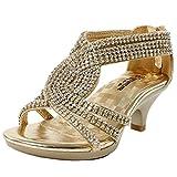 Fabulous Angel-37K Little Girls Bling Rhinestone Platform Dress Heels Sandals,Gold,12