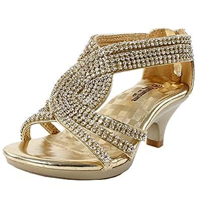 JJF Shoes Angel-37K Little Girl Mid Heel Rhinestone Pretty Sandal Dress Shoes Gold 9M Toddler