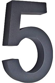 schwarz Hausnummer Arial-3D grau Briefkasten Edelstahl H20cm anthrazit