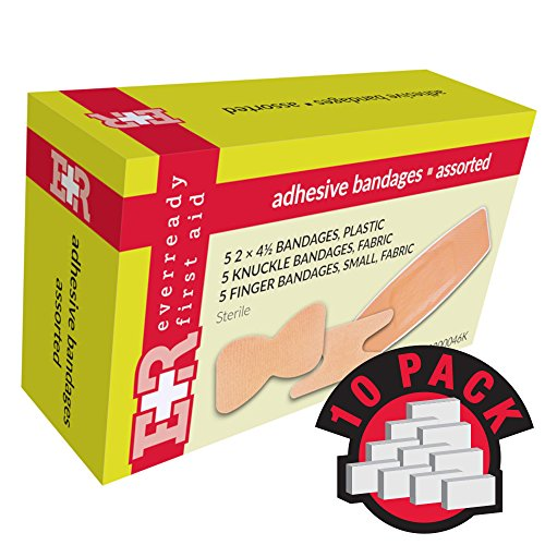 Ever Ready First Aid Adhesive Bandages, Sheer Plastic, Assorted, In Kit Unit Box, 15's, 10 Count (Adhesive Bandage Unit Plastic Box)
