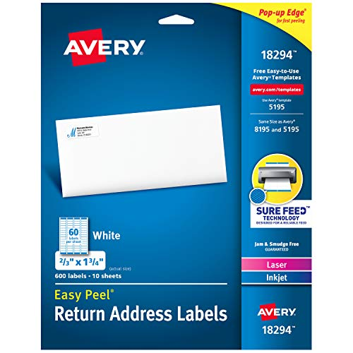 - Avery Return Address Labels with Sure Feed for Laser & Inkjet Printers, 2/3