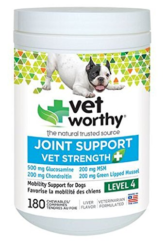 Vet Worthy Joint Support Level 4 Liver Flavored Chewables for Dogs (180 Count) ()