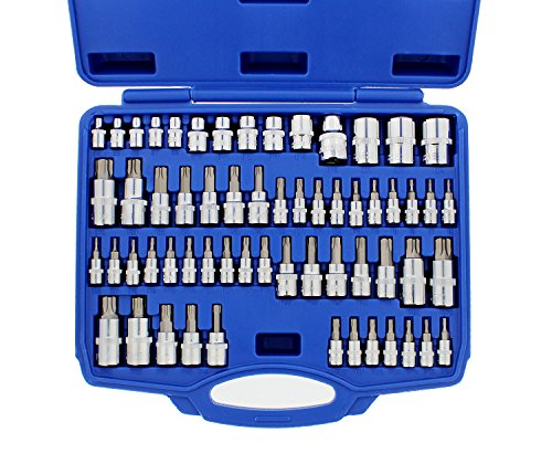 ABN Torx Bit Socket Set - 60 Pc Steel Star Bit Set Tamperproof, Torx Plus, and External Torx Socket Set with Case