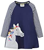 Fiream Girls Cotton Casual Longsleeve Stripe Applique Dresses(Navy,9-10 Years)