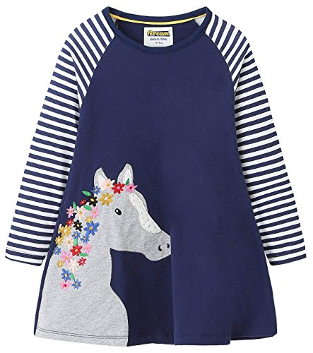 Fiream Girls Cotton Casual Longsleeve Stripe Applique Dresses(Navy,3T/3-4YRS) -