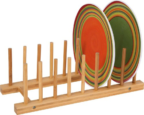 Multi-Purpose Bamboo Plate Holder and Pot Lid Organizer by Trademark Innovations ()