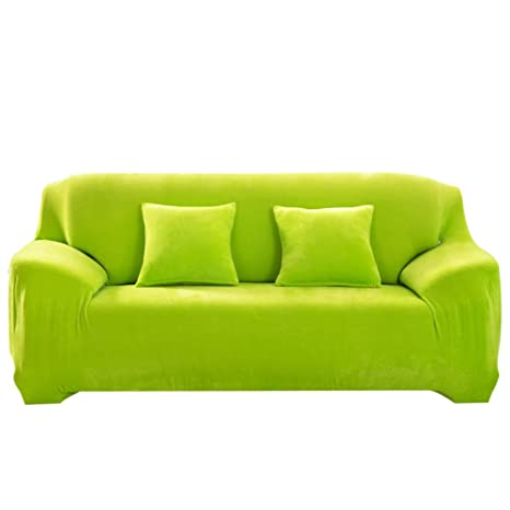 Attirant Thicken Plush Sofa Cover Cushion Solid Colour Slipcover (Loveseat Green)