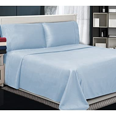1200 Thread Count Solid Pattern 6- Piece Bedding Sheet Set Upto 24 inches Deep Pocket 100% Egyptian Cotton All Sizes & Colors ( King , Sky Blue )
