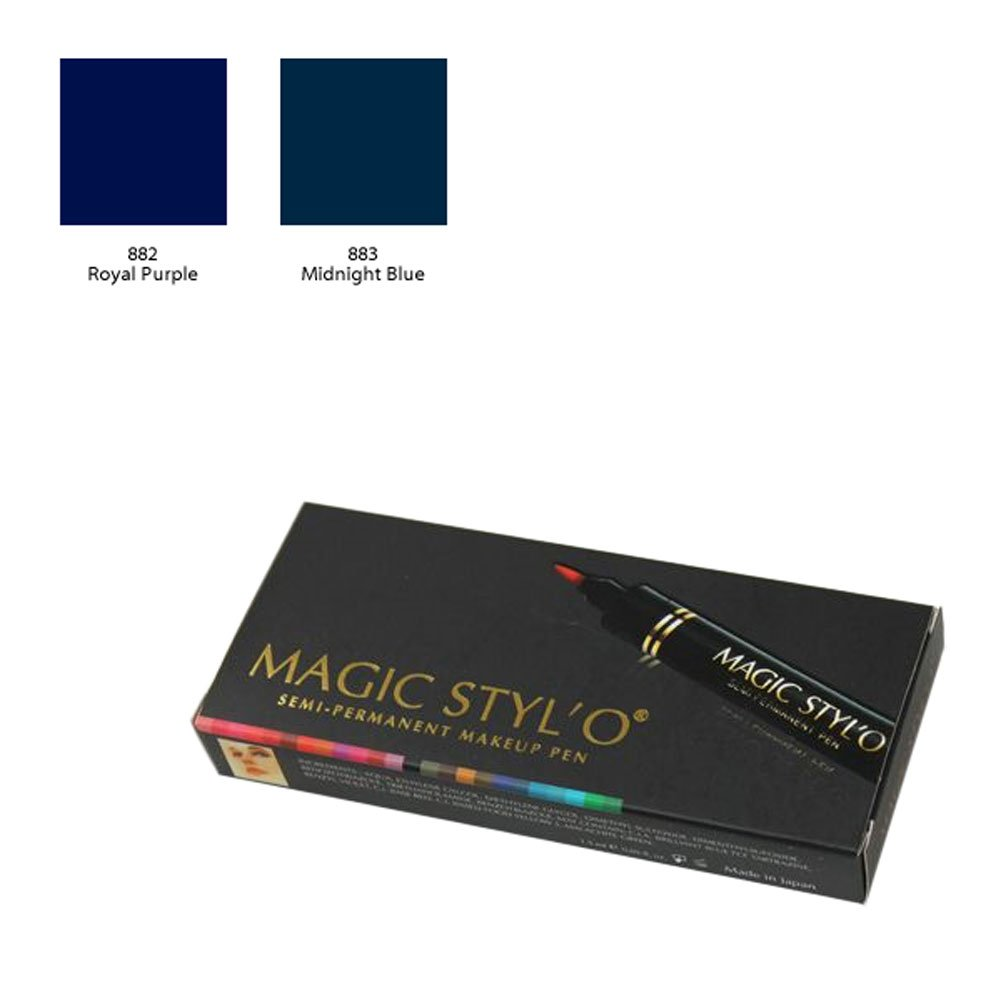 Bundle of 2 Items: Magic Stylo Semi Permanent Makeup Pen (Royal Purple & Midnight Blue)