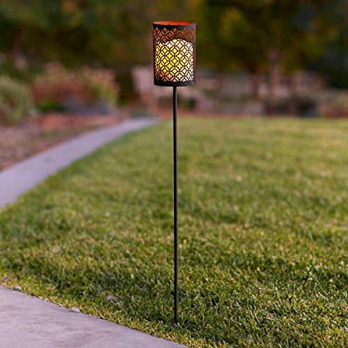 Amber Lantern Stakes (Moroccan Battery Operated Flameless LED Candle Lantern Garden Stake Light)