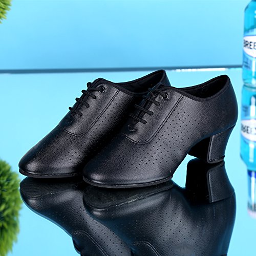 Fresh Lace Shoes Rumba Dance Abby Toe Womens Up Black Flat Snug Cloth PU Pointed Ballroom Low Top 851 Latin Tango URYUXO