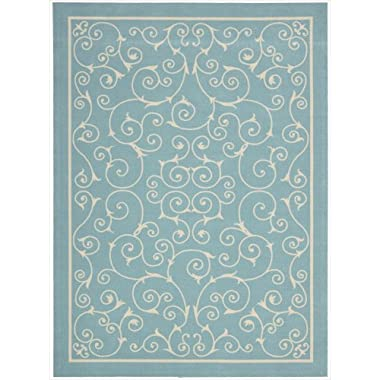 Nourison Home & Garden Indoor/Outdoor 7.9X1010 Light Blue Area Rug, 100% Polyester
