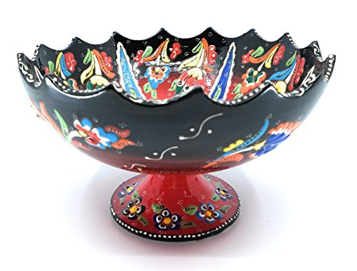 Handmade Turkish Traditional Ceramic Pottery Footed Candy Dish or Server (Black to ()