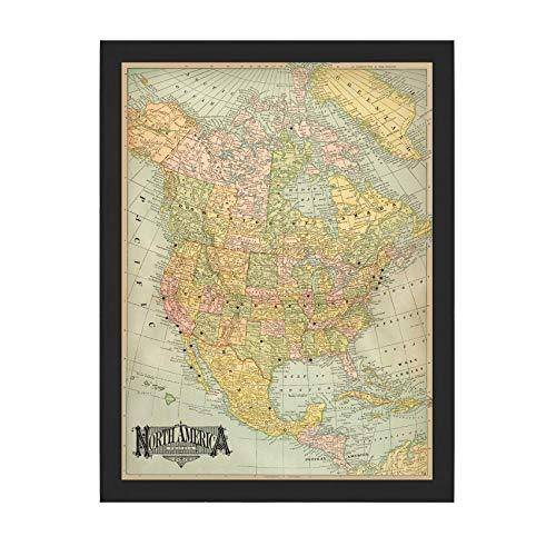 Vintage Blue North America USA Pushpin Travel Map