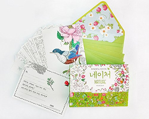 Amazon Nature Illustrated By Dessain Tolra Anti Stress Adult Coloring Book Kits DIY Stationery Cards Set With 20 Postcards Envelopes