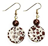 Style-ARThouse Spotted Pony Earrings of Animal Print Mother of Pearl Beads; 1.5 Inches Total
