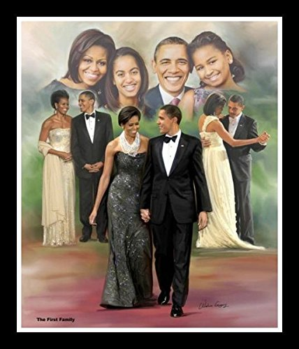 Obama Family Photo - Wishum Gregory The First Family: President Barack Obama and Michelle Obama By, 11x8.5 Inches, Black Frame