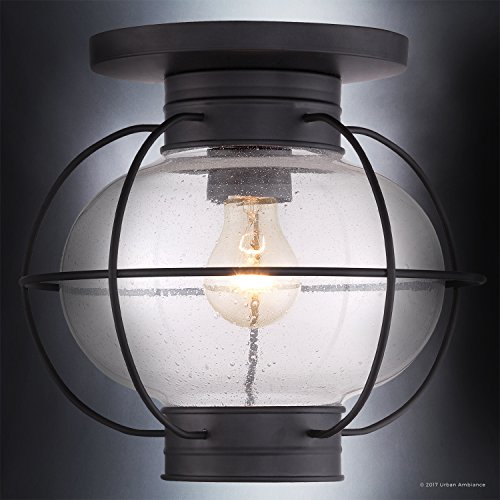 Luxury Nautical Outdoor Ceiling Light, Small Size: 10.5''H x 11.5''W, with Art Deco Style Elements, Cage Design, High-End Black Silk Finish and Seeded Glass, UQL1034 by Urban Ambiance by Urban Ambiance (Image #2)