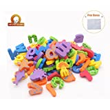 Kids Bath Toys w/ Suction Mesh Organizer Bag - Pack of 84 pcs- Baby Educational Numbers Bathroom Alphabet Toys - Hie Non-toxic EVA Letters Sea Animals Numbers