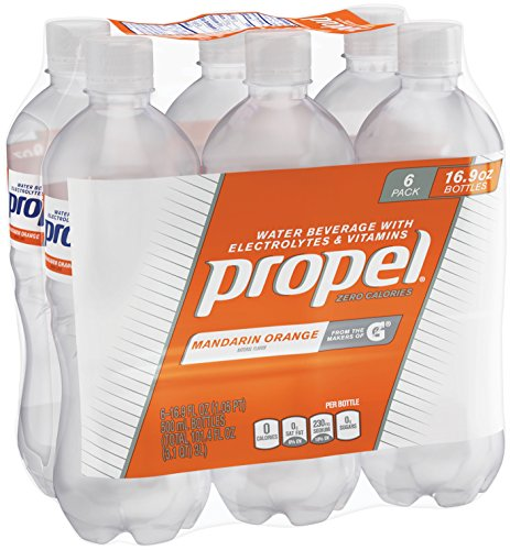 Propel, Mandarin Orange, Zero Calorie Sports Drinking Water with Antioxidant Vitamins C & E, 16.9 Ounce Bottles (Pack of 6)