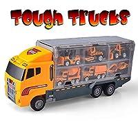 fire Cable Tough Trucks | Construction Toy Truck Set | Dump Truck Mac Truck Wheel Loader Bulldozer Excavator Mixer Backhoe (no Batteries Needed)