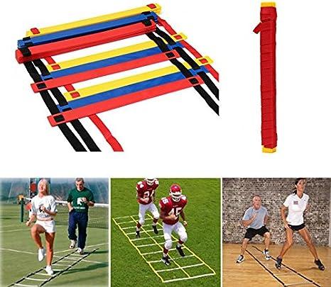 12 peldaños Velocidad Agilidad Escalera fútbol Deporte Escalera Entrenamiento Bolsa de Transporte, Azul: Amazon.es: Deportes y aire libre