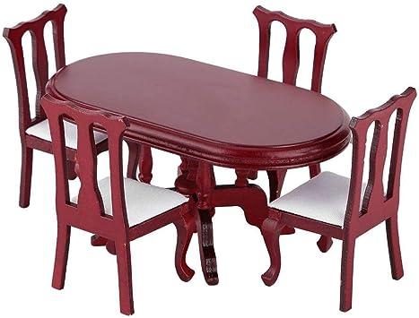 1:12 Casa de muñecas Muebles de Cocina, Maravillas de Madera Comedor en Cocina y Juego de Comedor de sillas de Mesa Accesorios para Casas de muñecas: Juguetes y juegos - Amazon.es