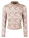 makeitmint Women's Sexy Floral Lace Mock Neck Long Sleeve Crop Top [12 Colors] YIL0013-DESERT-SML