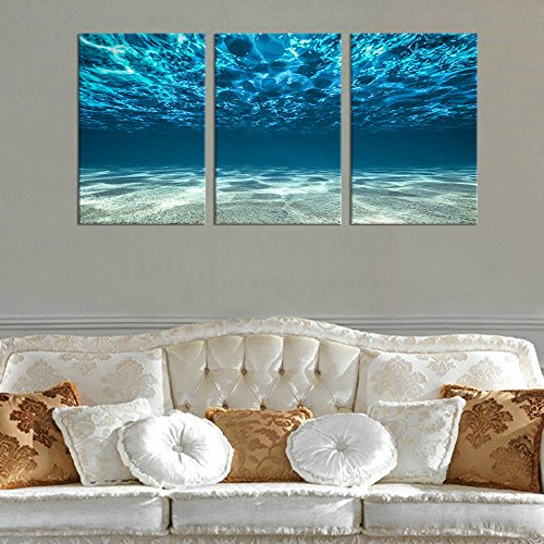 """Yearainn Ocean Canvas Wall Art Sea Waves Canvas Artwork 30\"""" x 60\"""" 3 Piece Large Canvas Art Picture Prints Underwater Water Sands Beach Painting for Living Room Bedroom Wall Decor Home Decoration"""