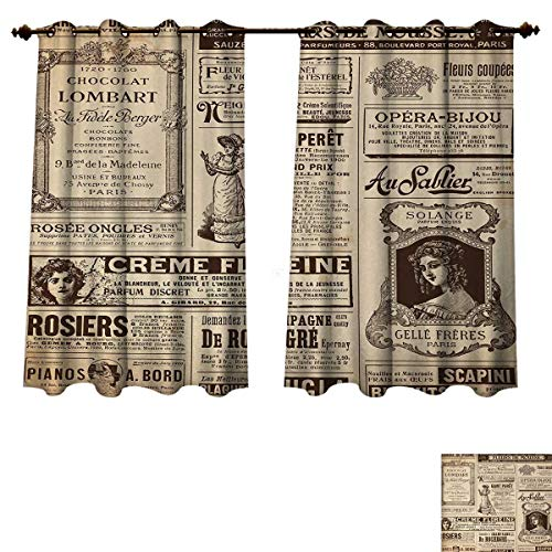 Anzhouqux Paris Blackout Thermal Curtain Panel Vintage Old Historic Newspaper Journal French Paper Lettering Art Patterned Drape for Glass Door Pale Brown Caramel and White W63 x L45 inch