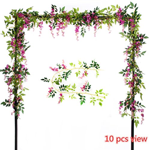 Felice Arts 2 Pcs Artificial Flowers 6.6ft/piece Silk Wisteria Ivy Vine Green Leaf Hanging Vine Garland for Wedding Party Home Garden Wall Decoration (Rose Red) (Wedding Wall Decorations)