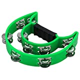 OPOCC Half Moon Musical Tambourine  Double Row Metal Jingles Hand Held Percussion Drum for Gift  Double Row of Jingles KTV Party Kids Toy with Ergonomic Handle Grip (Green)