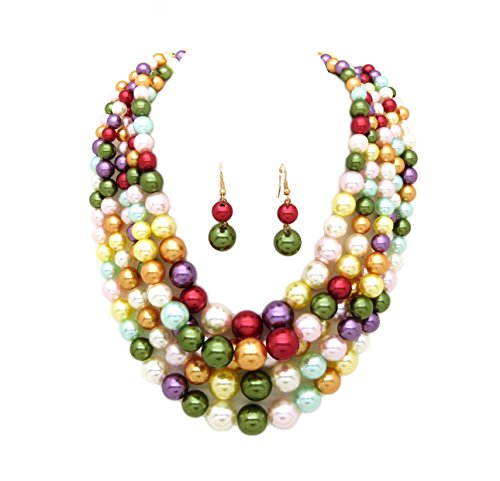 Women's Simulated Faux Pearl Five Multi-Strand Statement Necklace and Earrings Set (Bright Mix)