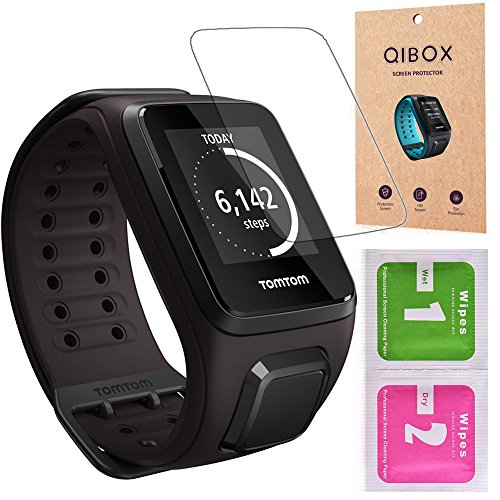 TomTom Spark Screen Protector (3-Pack), QIBOX Tempered Glass Screen Guard for TomTom Spark Cardio Music Fitness Watch, 9H Hardness Multi-layer Shatterproof and Anti-Bubble