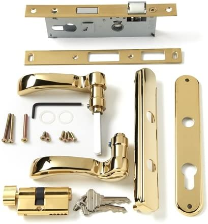 "Andersen Storm Door Handle Assembly in Brass Finish Traditional Style for 1 1/4"" OR 1 1/2"" Thick ANDERSEN Aluminum Storm Doors Manufactured After 2004"
