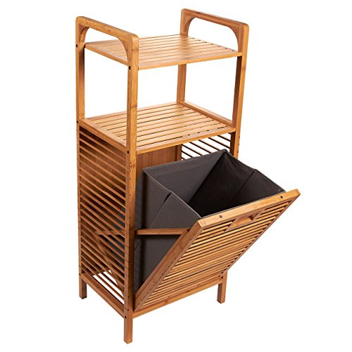 Juvale Laundry Hampers - Bamboo Shelf with Tilt-Out Hamper Basket, Clothes Hampers for Laundry, Perfect for Bathrooms and Spas, Brown, 15.8 x 37.5 x 11.8 Inches
