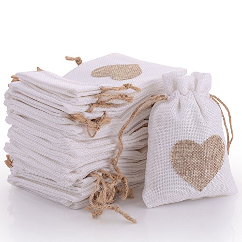 30pcs Burlap Bags with Drawstring Gift Pouches Heart Candy Jewelry Storage Package Sack for Wedding Bridal Shower Birthday Party Christmas Valentine's Day Favors DIY Craft, White 5.3x3.8 inch