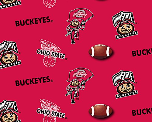 - OHIO STATE COTTON FABRIC-OHIO STATE BUCKEYES COTTON FABRIC SOLD BY THE YARD-SOLID GROUND COLOR DESIGN