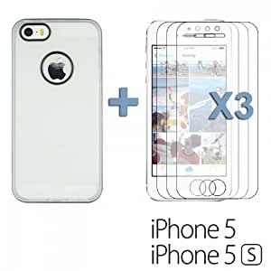 OnlineBestDigital - Transparent Case with White Outlet for Apple iPhone 5S / Apple iPhone 5 - White with 3 Screen Protectors