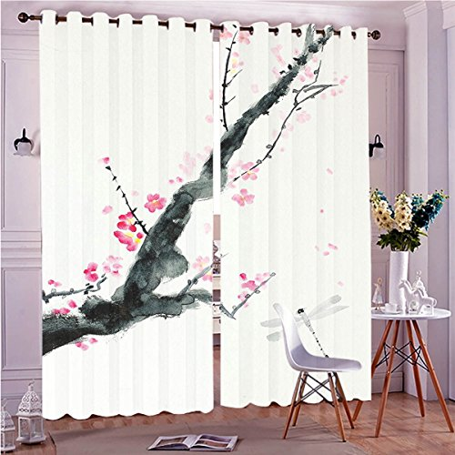Simple Cherry Hall Tree (Two Panel Set Window Curtain Country Decor Branch Of A Pink Cherry Blossom Sakura Tree Bud And A Dragonfly Dramatic Ar Polyester Window Treatments For Bedroom Diningroom Livingroom Dorm, 108
